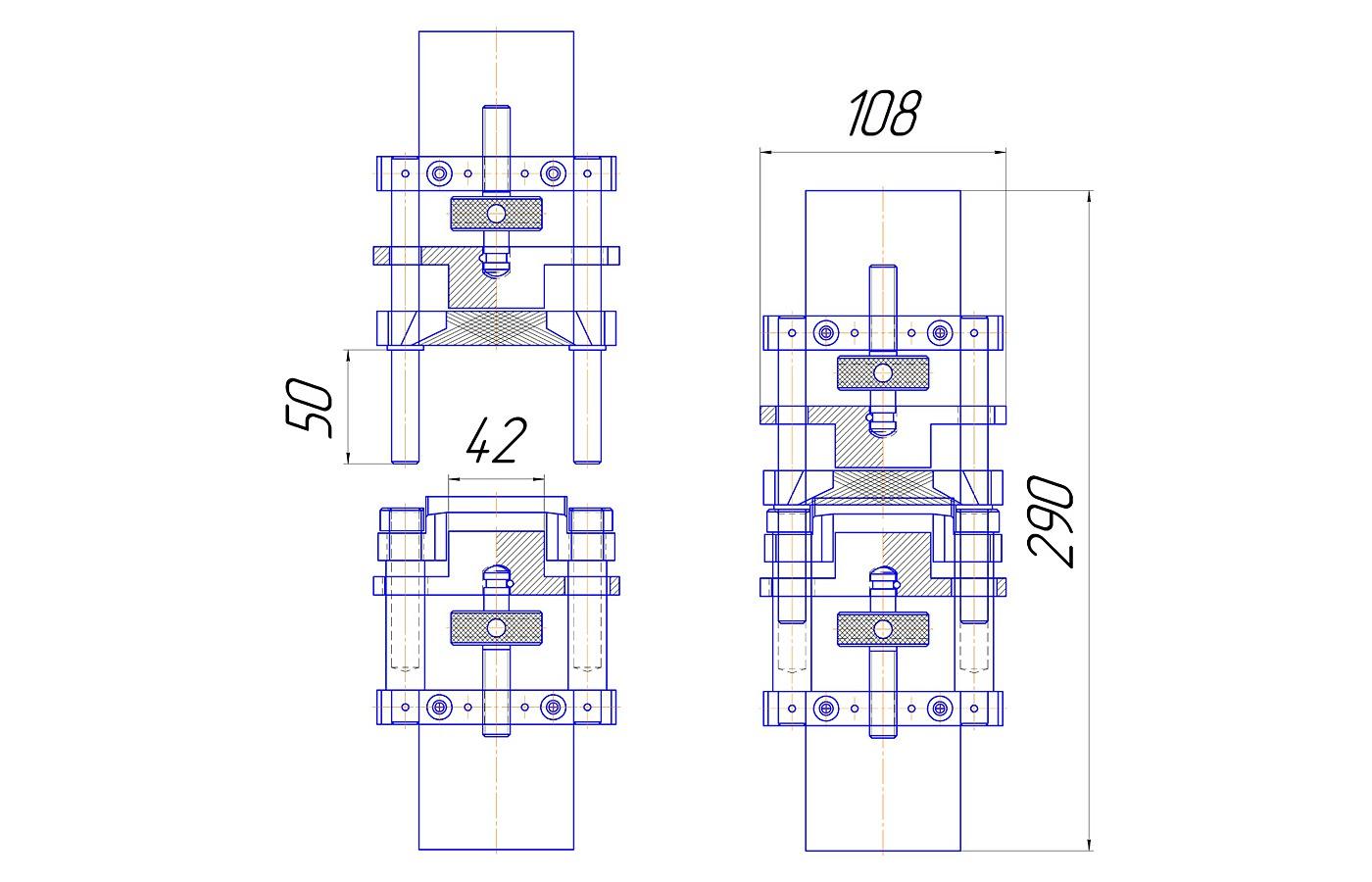 Приспособление для определения прочности крепления подошвы и ранта (до 3 кН)