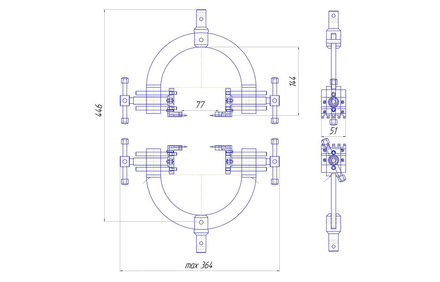 Приспособление для определения прочности крепления низкого каблука и набойки (до 3 кН)