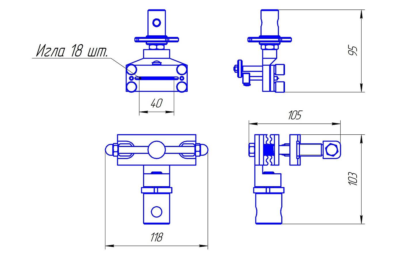Приспособление для определения прочности крепления среднего и высокого каблука (до 3 кН)